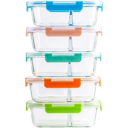 CREST 5-er Set Glas Frischhaltedosen, 2 Fächer, Meal Prep Boxen mit Deckel, Glasbehälter, BPA-frei, perfekt für Meal prep