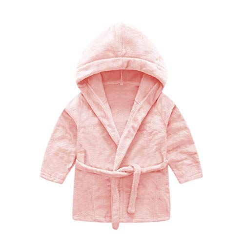 DEBAIJIA Säugling Bademantel 0-14T Baby Hausmantel Kleinkind Handtuch Robe Kinder Morgenmantel Unisex Mädchen Junge (Leuchtend Rosa-66)