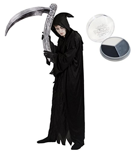 Disfraz de adulto para disfraz de Halloween, bata negra + capucha + guantes, ciego inflable + pintura facial (pequeo)