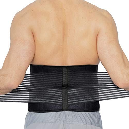 Rückenbandage aus Neopren - Stützung der Lendenwirbelsäule mit doppelten Bändern für starke Kompression - Neotech Care (Schwarz, L)