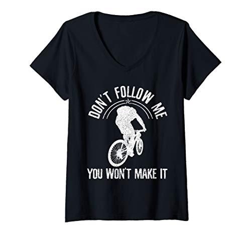 Womens Mountain Bike - Don't Follow Me Funny MTB Downhill Biking V-Neck T-Shirt