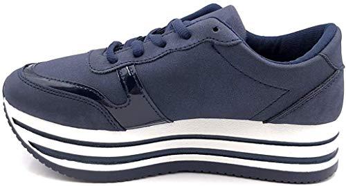 Angkorly - Damen Schuhe Sneaker - Plateauschuhe - Straße - Nieten-Besetzt - Perle - Streifenmuster Keilabsatz high Heel 4.5 cm - Blau GG501 T 39