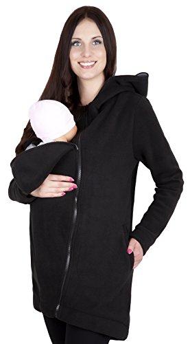 Mija - 3in1 Tragejacke, Umstandsjacke/Fleece Tragepullover für Tragetuch für Babytrage 7125 (M / EU38, Schwarz)