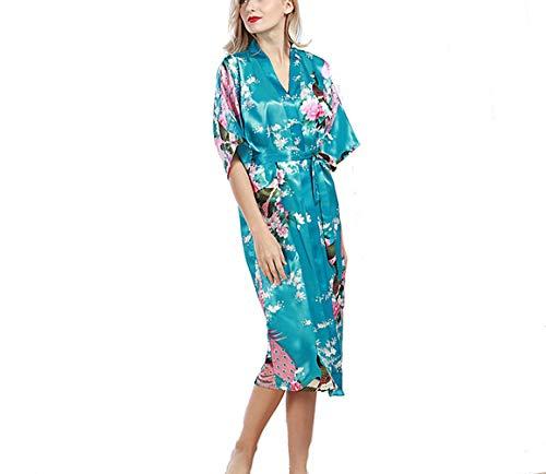 Crystallly Bata Damas Pijama De Seda Larga Kimono Satén Modelo De Estilo Simple Vestido De Pavo Real Kimono Larga De Las Señoras De La Albornoz Party Girl Pijama Inicio Moda Pijamas Cómodos