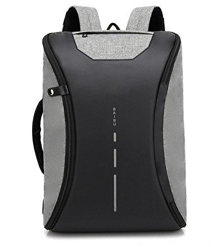 beibao shop Backpack Sacs à Dos pour Ordinateur Portable Affaires Loisirs Tissu Oxford Imperméable Anti-vol Extérieur Épaule Multi-Fonctionnel Sac à Dos d'ordinateur, Grey