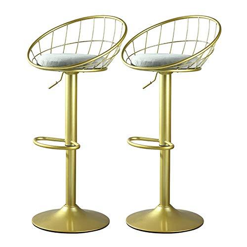 N/Z Tägliche Ausrüstung Barhocker Set mit 2 höhenverstellbaren Barstühlen für Küche/Frühstücksbar/Theke 360 Grad;Drehbarer Esszimmerhocker mit Gitterrückenlehne und Fußstütze (Paar Barhocker Gra