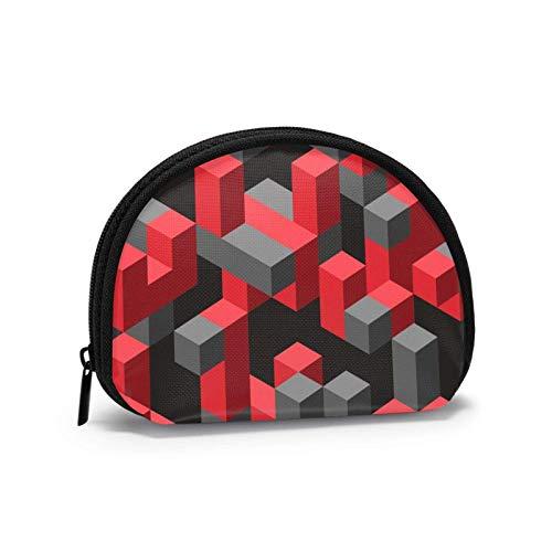 Oxford Cloth 3D Rot Grau Geometrische Geldbörse Kleine Reißverschlusstasche Brieftasche Wechselbeutel Mini Kosmetische Schminktaschen Organizer Mehrzweckbeutel