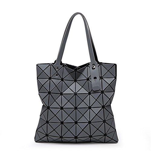 KCNXCE Diamant Frauen Bao Taschen Geometrie Matte Handtasche Weibliche Geometrische Lässig Tote Dame Umhängetasche Top-Griff Tasche Gray