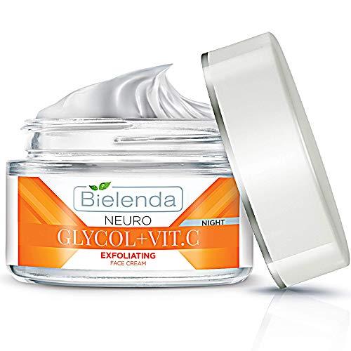 Bielenda GLYCOL+VIT.C - Crema exfoliante facial para la noche, brillo y activador juvenil, 50 ml
