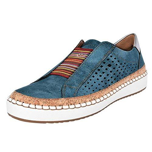 Puimentiua Damen Plateau Sneaker Bequeme Slip On Sportschuhe Low top Turnschuh Übergrößen PU Leder Schuhe Slipper ohne Schnürsenkel