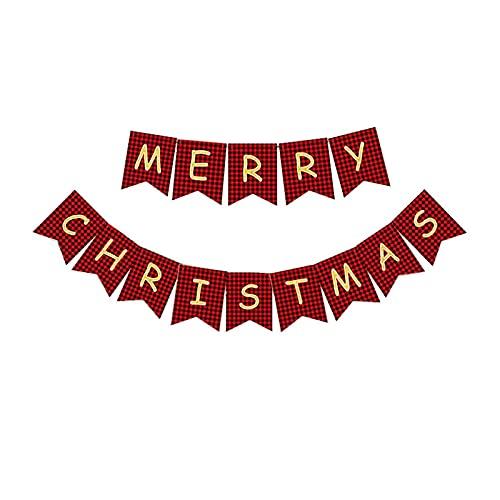 Feliz Navidad Banner Negro Rojo Plaid Letras Navidad Tarjeta Bunting