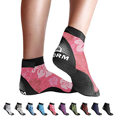 BPS 'Second Skin' Sports Socks - Sand Skins for Outdoor Volleyball, Surfing, Dive Boots, Canoeing, Snorkeling, Beach Soccer - for Men and Women - Low Cut Socks (Pink Floral, Medium)