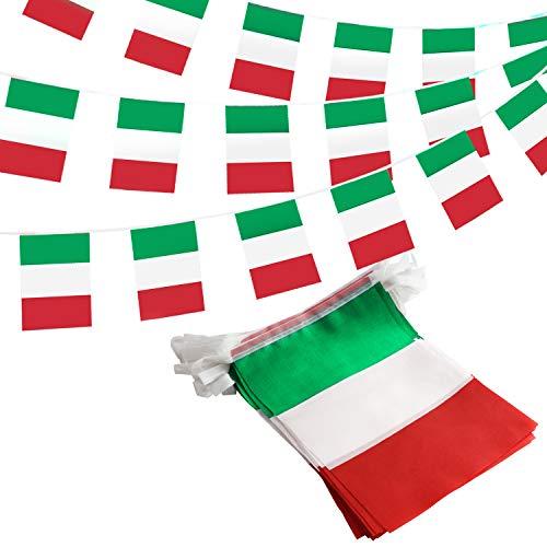 ANLEY Italien Italienska republiken String Pennant Banners, patriotiska händelser 2 juni Nationaldag Dekoration Sportsbarer - 33 fot 38 flaggor