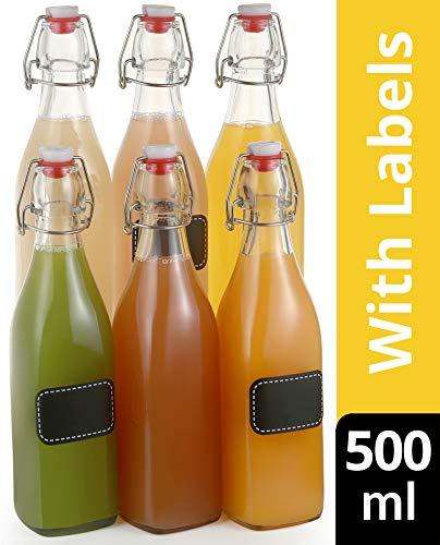 6 Glasflaschen Bügelverschluss 500ml Eckig - 6 Etiketten mit Stift und 6 Extra Dichtungen