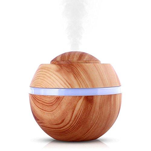 DINOWIN 400ml Aroma diffusers houtnerf luchtbevochtiger aromatherapie luchtbevochtiger voor slaapkamer, olie, yoga, SPA Leichte Holzmaserung
