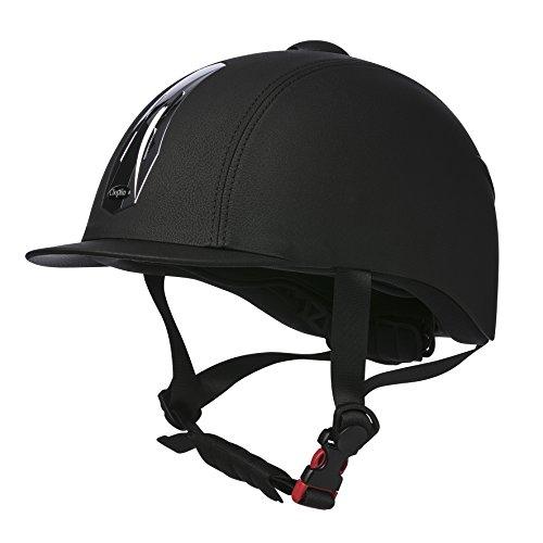 CHOPLIN Unisex Premium Grainé Verstellbarer Helm, genarbt, Schwarz/Chrom, Größe 54/56