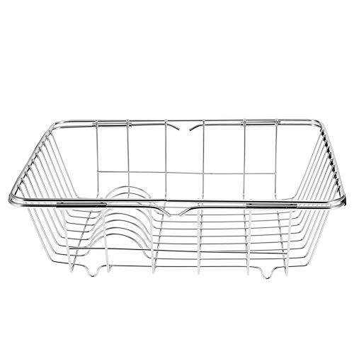 Dish Drainer Basket, Delaman Multifunctional Stainless Steel Drying Racks Holders Retractable Dish Vegetables Drainer Basket Kitchen Accessories