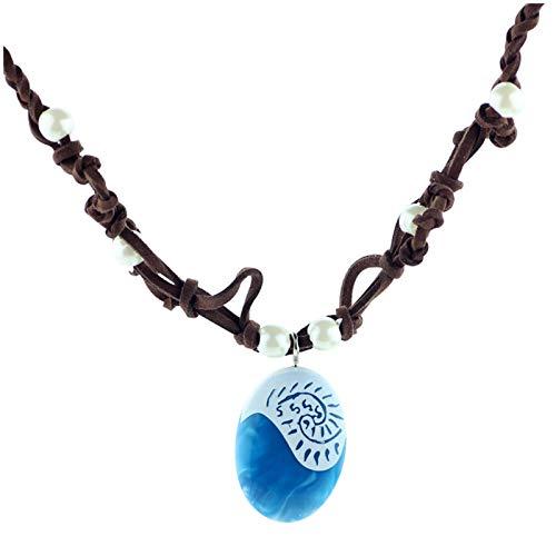DOOLY Collares de Cadena de Cuerda oceánica, Collares y Colgantes de Piedra Azul, Gargantilla de Gamuza de Cuero, Collar para Mujeres, niñas, joyería, Regalos