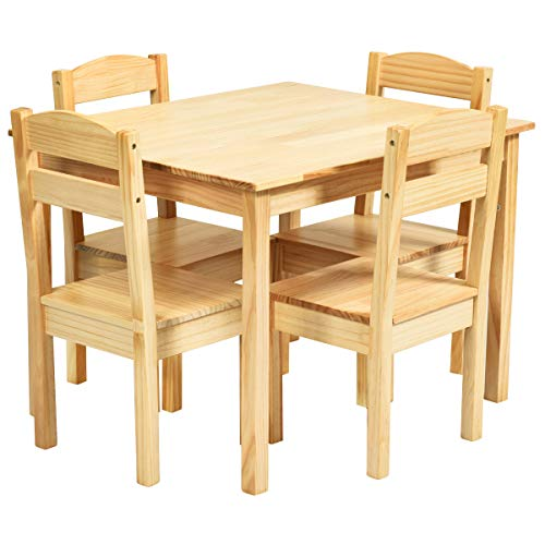 Costzon Kids Table and Chair Set, 5 Piece Wood Activity Table & Chairs for Children Arts, Crafts, Homework, Snack Time, Preschool Furniture, Gift for Boys Girls, Toddler Table and Chair Set (Natural)