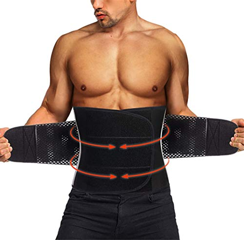 TAILONG Neoprene Waist Trimmer Ab Belt for Men Waist Trainer Corset Slimming Body Shaper Workout Sauna Hot Sweat Band (Black with Band, M)