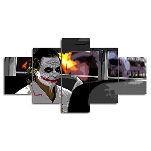 XIAYUU Impression sur Toile intissee Tableaux Joker Heath Ledger Batman 5 Parties HD Posters Photo Image Artistique Toile Tableau Decoration Murale Salon.(avec Cadre 100x55 cm)