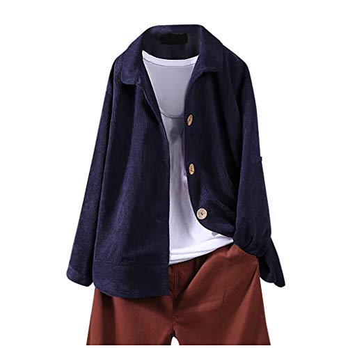 TEFIIR Damen Jeansjacke im Streetstyle mit Reversknopf Casual Cardigan Einfarbiger Freizeitjacke Coat Winter Warmer Baggy Mantel Lose Tops