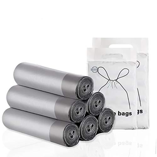 BILIEASY 5 rollos de 45 x 50 cm, 75 bolsas de basura de 10 l – 15 l, bolsas de basura con cordón, grandes y resistentes y universales sin perfume, bolsas de basura para la cocina