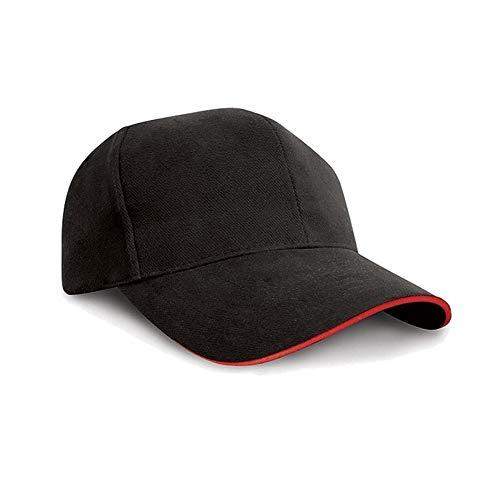 Result - Casquette Style Pro 100% Coton - Adulte Unisexe (Taille Unique) (Noir/Rouge)