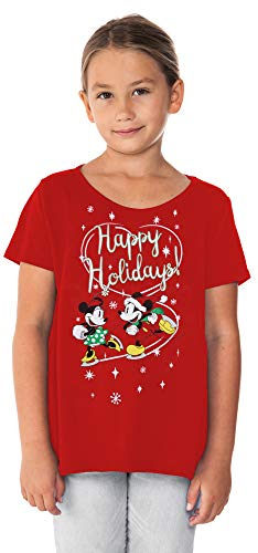 Disney Girls T-Shirt Mickey Minnie Mouse Choose Print (Red - Ice Skating, Large)