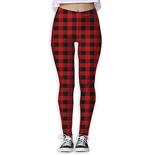 KLING Custom Black Pantalon de Yoga à Carreaux Red Buffalo Femmes Power Flex Yoga Workout Pantalon de Jogging,S