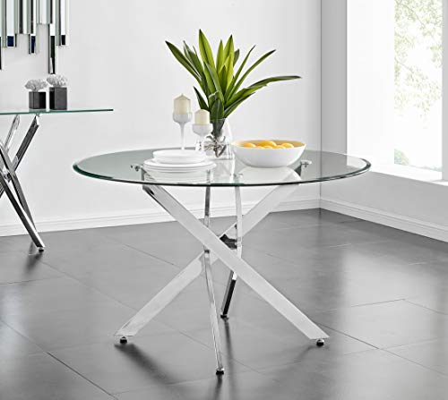 Novara Modern Stylish Large Round Chrome Metal And Clear Glass Dining Table And 4/6 Premium Lorenzo Dining Chairs Set (Table Only, No Chairs)