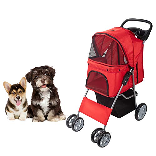 Dawoo 4-Wheel Pet Trolley For Cats / Dogs, Easy-To-Fold Jogger Trolley,with Storage Basket And Cup...