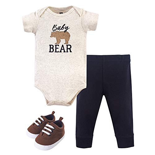 Hudson Baby Unisex Baby Cotton Bodysuit, Pant and Shoe Set, Baby Bear, 6-9 Months
