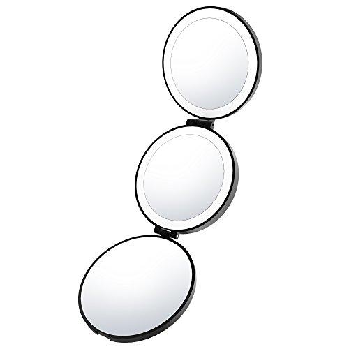 Espejo de maquillaje portátil iluminado con luz natural de LED Lightswim....