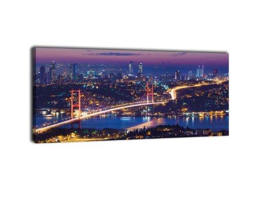 wandmotiv24 Leinwandbild Panorama Nr. 309 Istanbul bei Nacht 100x40cm, Keilrahmenbild, Bild auf Leinwand, Nacht Skyline Türkei