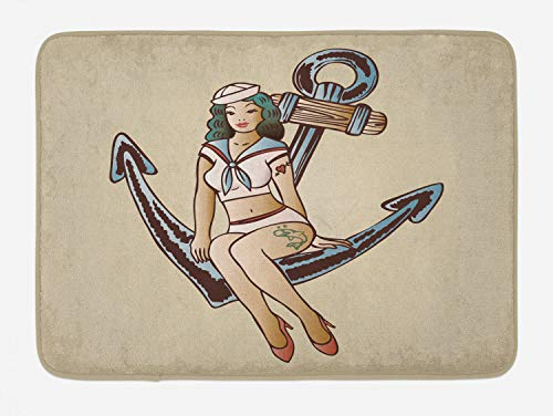 Ambesonne Anchor Bath Mat, Pinup Girl with Sailor Outfit Shark and Heart Tattoo Vintage Twenties Illustration, Plush Bathroom Decor Mat with Non Slip Backing, 29.5' X 17.5', Cream Blue