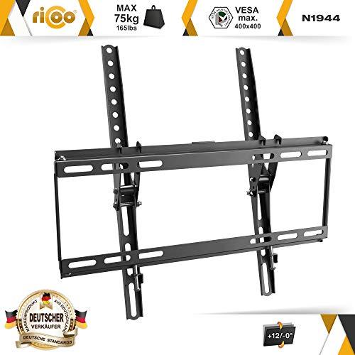 RICOO N1944 Support Mural TV Plat Inclinable Fixation TV Universel 32-65 Pouces (81-165 cm) Télé OLED LCD LED écran incurvé VESA 400x400 Noir