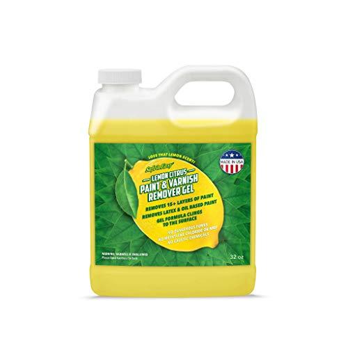 Safe 'n Easy Lemon Citrus Paint & Varnish Remover Gel, Strips 15+ Layers of Paint Safely, No Hazardous Fumes, Non-Toxic, Lemon Scent (32oz)