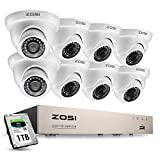 ZOSI 8CH 1080P Security Camera System with Hard Drive 1TB H.265+ 8 Channel Full True 1080P HD-TVI DVR Recorder and 8pcs 1080P HD Weatherproof CCTV Dome Cameras System, 65ft Night Vision