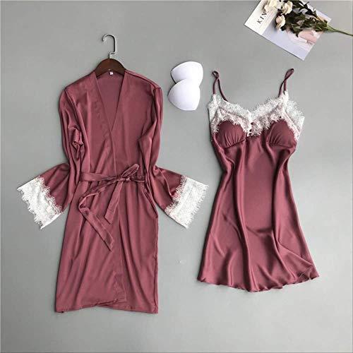 XFLOWR Frauen Nachthemd Sommer und Frühling Damen Seidenfleck 2-teiliges Set Kleid + Mantel Langarm Spitze Popeline Schlafrock Nachtwäsche L Pink