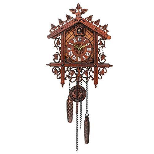 Toolmore Reloj De Pared De Madera De Cuco De La Vendimia Que Cuelga El Reloj De La Artesania para El Hogar Restaurante Decoracion Arte Vintage Swing Sala De Estar