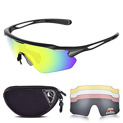 Gafas de sol deportivas con protección UV 400, gafas de ciclismo con marco TR90 Superlight para hombres y mujeres, ciclismo, escalada, pesca, conducción de golf (#B Black-revo Gold,L)