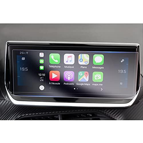 GAFAT Peugeot 208 2008 e-208 e-2008 - Protector de pantalla de navegación de 10 pulgadas, PET, plástico protector de pantalla para coche, GPS, 4H antiarañazos y antirreflectante [2 unidades]