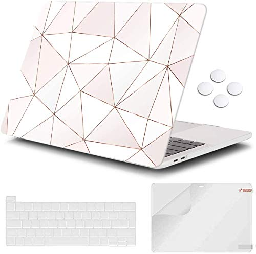 Macbook Pro 13 inch Case 2020 Release A2338 M1 A2251 A2289, iCasso Plastic Hard Shell Case Protective Cover & Keyboard Cover Compatible New Macbook Pro 13 inch with Touch Bar - Pink Stripe