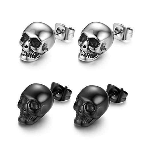 Cupimatch Hip Hop punk Uomo Orecchini teschio cranio acciaio inossidabile argento nero(2 paia)