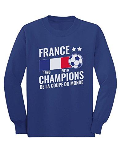 Green Turtle T-Shirts France Vainqueur Coupe du Monde de Football 2018 T-Shirt Manches Longues Enfant 9/10 Ans 140cm Bleu