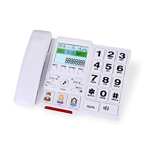 Vast, Draadloze Telefoon Met, Hinder Call Blocker En Digitaal Antwoordapparaat, Een LCD Display Vaste Telefoon, Big Button Draadgebonden Telefoon Desk/Wall Mounted In (Color : White)