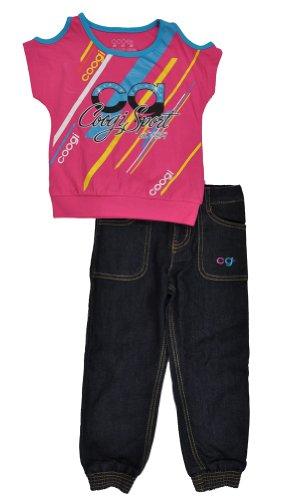 COOGI Toddler Girls Sport 2Pc Denim Pant Set (2T, Pink Pulse)