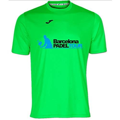 Barcelona Padel Tour | Camiseta Manga Corta Técnica Joma Gusta el Padel Hombre | Estampación Especial de Pádel | De Tacto Suave y Secado Rápido | Ropa Deportiva Verde Fluor S