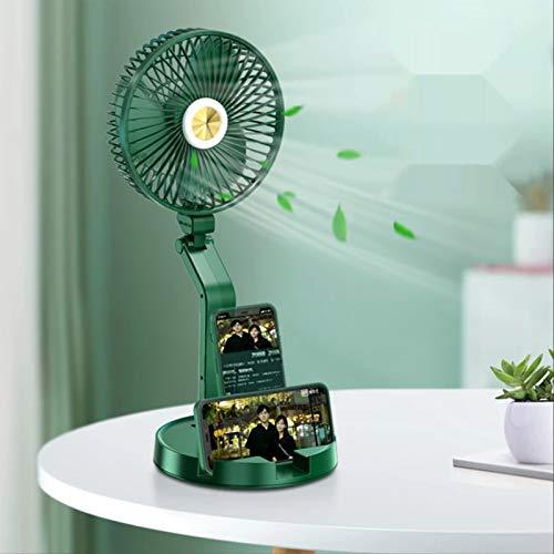 YOOXI 5200mAh große Kapazität tragbare Ventilatoren, klappbar mit Telefonkartensteckplatz Design, Unterstützung USB-Ladung 300LM Schreibtischlampe Fan, geeignet für Reisen/Outdoor/Camping
